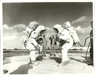 Photo Apollo 16 Astronaut John Young Charles Duke Space Suits