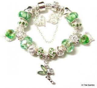 Tinkerbell Fairy Peridot Swarovski Crystal Child Girls Charm Bracelet