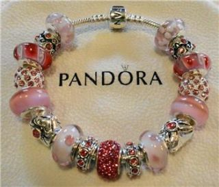 Authentic Pandora Silver Charm Bracelet with Murano Glass Silver Beads