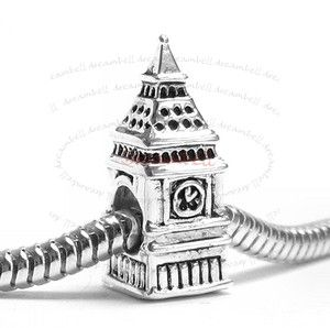 London Big Ben Clock Bead for European Charm Bracelets SPB710B