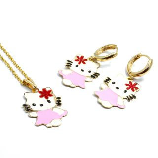 GF Flower Enamel Hello Kitty Girl Pendant Charm Chain Earrings