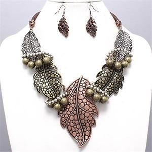 Chunky Beaded Leaf Charm Tri Chain Earring Necklace Set Fashion