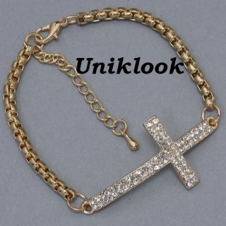 Yet Delicate Clear Crystal 4 Cross Gold Chain Design Jewelry Necklace