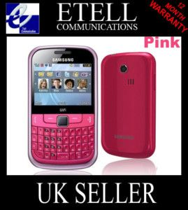 New Samsung Chat 335 QWERTY Pink Mobile Phone Unlocked 8806071357324