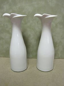 DANSK ALL WHITE PORCELAIN BIRD or DOVE CANDLESTICKS Gunnar Cyren