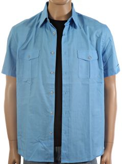 New $40 Perry Ellis Chambray Blue Mens Utility Casual Shirt Sz L Large