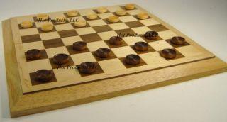 Folding Wood 15 5 Travel Chess Board w Checkers Set