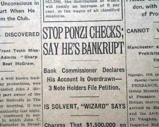 PONZI SCHEME Charles Ponzi Wall Street Exposed & WOMENS SUFFRAGE 1920