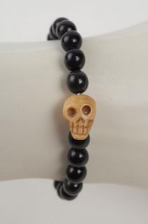 Chan Luu for Men New Black Horn Beads Bone Head Skull Stretch Bracelet