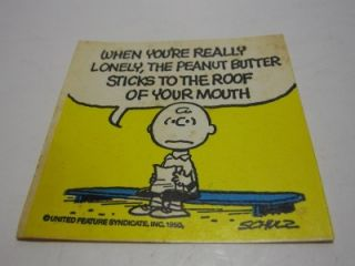 Vintage 1950 Schulz Peanuts Snoopy Charlie Brown Lonely Butter Sticker
