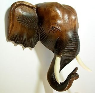 Thai Elephant Head Wood Carving Figurine Home Wall Decor