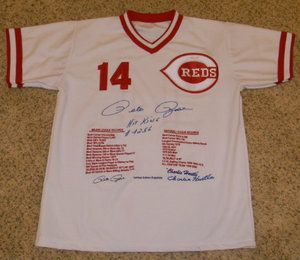 Pete Rose Charlie Hustle Signed Cincinnati Reds 14 Stat Jersey w Hit