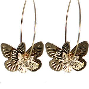 Butterfly Charm Gold Plated Fashion Designer Cute Hoop