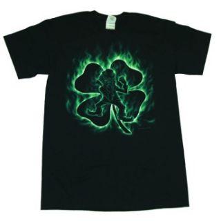 Irish Flame Leprechaun Clover St. Patricks Day T Shirt Tee