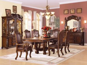 Formal Cherry Finish Dining Room Set Table Chairs ZAC60050