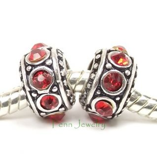 Red Ruby Rhinestone Charms Antique Silver Add A Charm Slider Fit