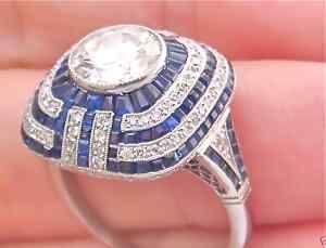 Estate Art Deco 1 56ct Center Diamond 1 8ctw Sapphire Cushion Platinum