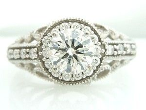White Gold Diamond Engagement Ring Semi Mount No Center Diamond