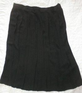 Chaus Woman Black Pleated Full Long Polyester Skirt Career Dress