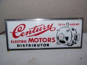 Vintage 1950s Century Electric Motors Distributor Lighted Gas Oil Sign