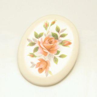 ENGLAND Vintage Large Oval Statement Brooch Pin Ceramic Roses Design