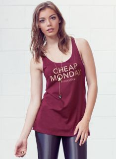 NEW WOMENS VINTAGE CHEAP MONDAY NOMI VEST TANK TOP RED WINE   6, 8, 10