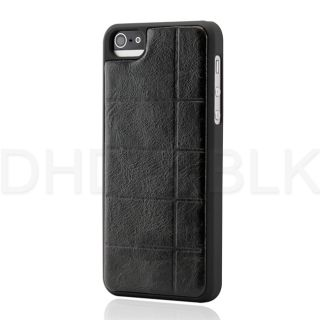 Black Checker PU Leather Back Cover Hard PC Rubberized Case for iPhone