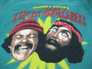 Cheech and Chongs Up in Smoke T Tee Shirt Green Small 1970s Movie