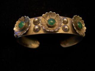 Era Navajo Squash Blossum Cerrillos Turquoise Sterling Silver Bracelet