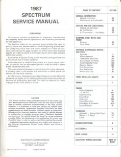 1987 Chevrolet Spectrum Factory Shop Service Manual