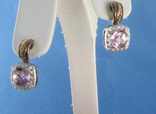 Charles Krypell 14K Rose Sterling 925 Pink Topaz Diamond Earrings NWT