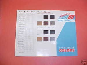 1988 Chevrolet Camaro Color Paint Chips Brochure 88