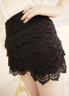 BE# NewFashion Black Mini Lace Tiered Short Skirt Under Safety Pants