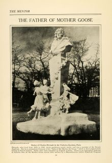 1922 Print Father Mother GOOSE Charles Perrault Tuileries Gardens