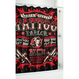 Sailor Betty Tattoo Shower Curtain Retro Rockabilly Punk Gothic Flash
