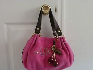 Juice Couture Pink Terry Cherry Baby Fluffy Satchel Handbag NWT
