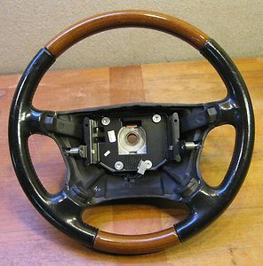 Saab 9 5 1999 03 Original Leather Wood Grain Steering Wheel 01 02