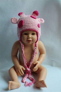 New Handmade Baby Child Crochet Pink Sika Deer Hat Photograph Newborn