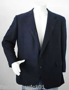 CHESTER BARRIE MENS NAVY BLUE CASHMERE BLAZER JACKET SPORTCOAT SUIT
