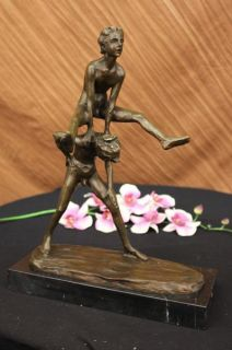 Signed Otto German Artist Children Playing Leap Frog Bronze Sculpture