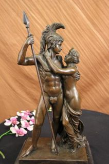 classic greek warrior couple bronze sculpture statue nr