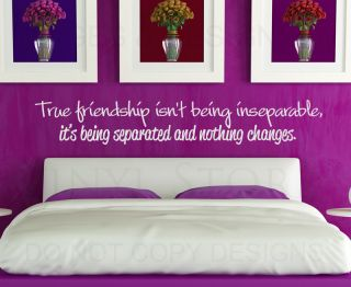 Wall Decal Art Sticker Quote Vinyl Letter True Friendship Being