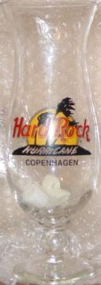 Hard Rock Cafe Copenhagen Hurricane Glass HRC Logo with Palm Trees