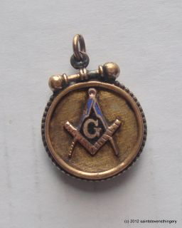 Antique Masonic Gold Watch Fob Charm Carved Moss Agate Seal Back