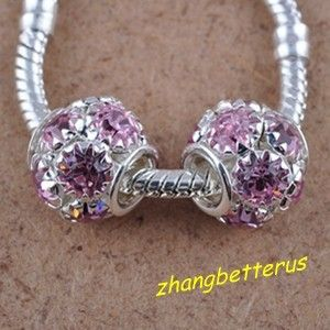 Silver Plated Crystal Rhinestone Big Hole Beads Bracelet Charms 14 mm