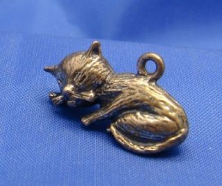 Vintage Sterling Silver Sleeping Cat Kitten Charm