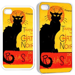 Chat Noir Black Cat iPhone 4 4S Hard Case Cover Holder White Gift Idea