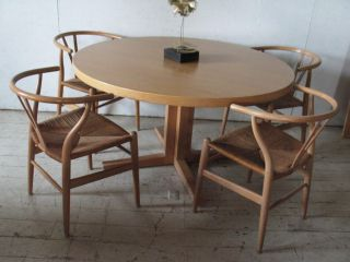 Danish Modern Dining Table Round Table 2 Leaves John Mortensen