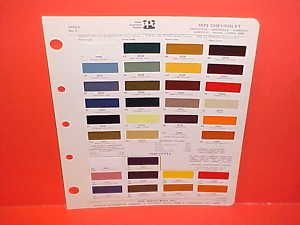 1973 Chevrolet Corvette Camaro Paint Chips Color Chart