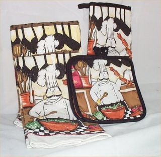 PC Kitchen Towel Fat Chef Pot Holder Oven Mitt Set